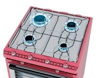 Cucina rossa con la stufa di gas Fotografie Stock Libere da Diritti