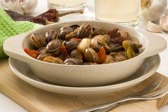 Cucina spagnola. Lumache in salsa. fotografia stock libera da diritti