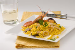 Cucina spagnola. Paella. Riso spagnolo. Fotografie Stock Libere da Diritti