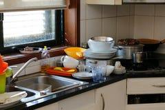 Cucina sudicia Fotografia Stock Libera da Diritti