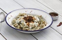 Cucina turca tradizionale - Manti Fotografie Stock
