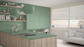 Cucina verde e di legno moderna con gli scaffali e gabinetti, sofà e finestra panoramica Salone contemporaneo, minimalista illustrazione di stock