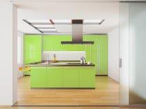 Cucina verde moderna Fotografia Stock Libera da Diritti