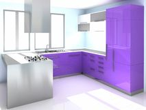 Cucina viola moderna Immagini Stock