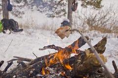 Cucinando al palo Fotografia Stock
