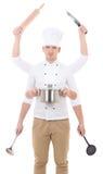 Cucinando concetto - uomo in uniforme del cuoco unico con 6 mani che tengono l'attrezzatura della cucina Fotografie Stock Libere da Diritti