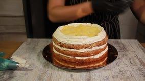 Cucinando crema dal formaggio cremoso, del cagliata e dalla crema per la fabbricazione del dolce della dado-banana, il processo c stock footage