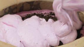 Cucinando e facendo il dolce della crema del formaggio con i mirtilli archivi video