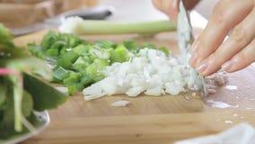 Cucinando e tagliando le verdure video d archivio