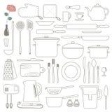 Cucinando icone del profilo della cucina e degli alimenti messe Linea sottile Immagini Stock Libere da Diritti
