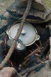 cucinando il fuoco apra Immagini Stock Libere da Diritti