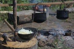 cucinando il fuoco apra Fotografia Stock