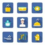Cucinando le icone impostate Fotografia Stock Libera da Diritti