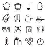 Cucinando le icone impostate Fotografie Stock Libere da Diritti