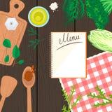 Cucinando nell'insegna di vista superiore della cucina Fotografie Stock