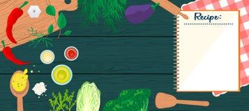 Cucinando nell'insegna di vista superiore della cucina Fotografia Stock