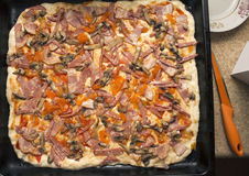 Cucinando pizza a casa Immagini Stock Libere da Diritti