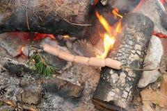 Cucinando sopra un fuoco di accampamento Immagini Stock