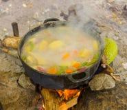 Cucinando su un fuoco aperto nei tropici Immagini Stock Libere da Diritti