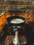 Cucinando sul fuoco immagini stock libere da diritti