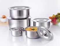 Cucinando vaso fatto di acciaio inossidabile Fotografie Stock Libere da Diritti