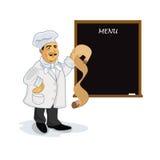 Cucini con la lavagna in bianco del menu di ricetta, illustrazione di vettore Fotografia Stock