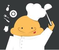 Cucini in un abito bianco con il cappello ed il mestolo Immagine Stock