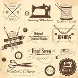 Cucito d'annata di stile ed etichetta del sarto Immagine Stock