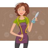 Cucitrice della donna con le forbici ed il metro Illustrazione di vettore Illustrazione di Stock