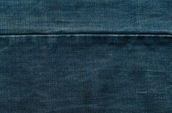 Cucitura di struttura delle blue jeans Immagine Stock