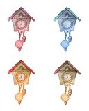 Cuckoo clock. Four cuckoo clocks in watercolor Royalty Free Stock Photo