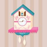Cuckoo clock bird vector on wall flat cute Royalty Free Stock Images