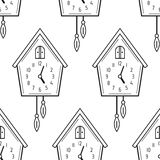 Cuckoo clock. Black and white seamless pattern with clocks. Vector Royalty Free Stock Image