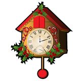Cuckoo clock decorated with leaves and berries Holly isolated on a white background. Sketch for greeting card, festive. Poster or party invitations.The Stock Image