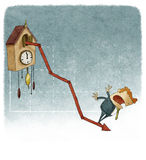 Cuckoo clock growth graph. With negative results Royalty Free Stock Photography