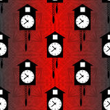Cuckoo clock on a red background seamless vector pattern Stock Photography