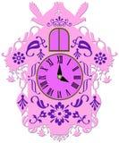 Rich decorated pink cuckoo clock stock illustration