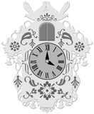 Rich decorated traditional cuckoo clock vector illustration