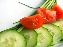 Cucmber und Tomate Lizenzfreies Stockfoto