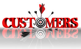 Cuctomers red word and conceptual target Royalty Free Stock Image
