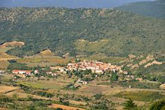 Cucugnan avsmall village in the Corbieres in France Royalty Free Stock Photography