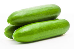 Cucumber. Three Green Cucumber Isolated on White royalty free stock photos