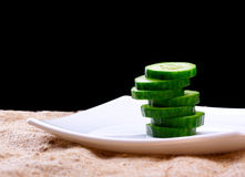 Cucumber. The cut cucumber on a plate Royalty Free Stock Image