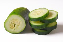 Cucumber. Sliced and placed on white background stock image