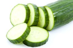 Cucumber. Sliced cucumber - healthy eating - vegetables - close up Stock Photo