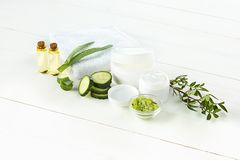Cucumber and aloe cosmetic cream face, skin and body care hygiene moisture lotion Royalty Free Stock Photos