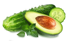 Cucumber and avocado with leaf mint isolated royalty free stock photo