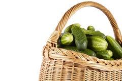 Cucumber on basket Stock Photos