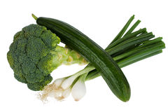 Cucumber, broccoli and spring onion Royalty Free Stock Images