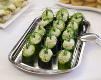 Cucumber canape Stock Image